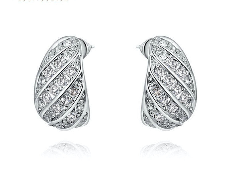 Platinum Plated Eliza Earrings with Simulated Diamond