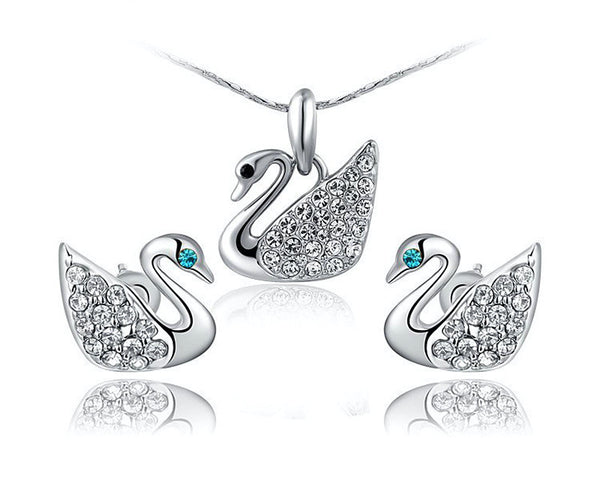 Platinum Plated Eliza Necklace and Earrings Set with Simulated Diamond