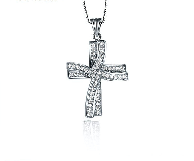 Platinum Plated Ella Necklace with Simulated Diamond