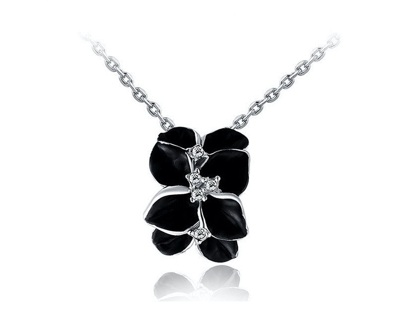 Platinum Plated Emilia Necklace with Simulated Diamond