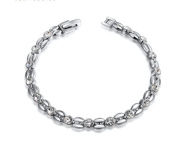 Platinum Plated Emily Bracelet with Simulated Diamond