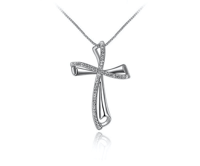 Platinum Plated Emily Necklace with Simulated Diamond
