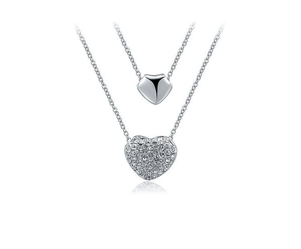 Platinum Plated Esther Necklace with Simulated Diamond