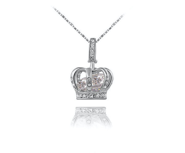 Platinum Plated Eva Necklace with Simulated Diamond