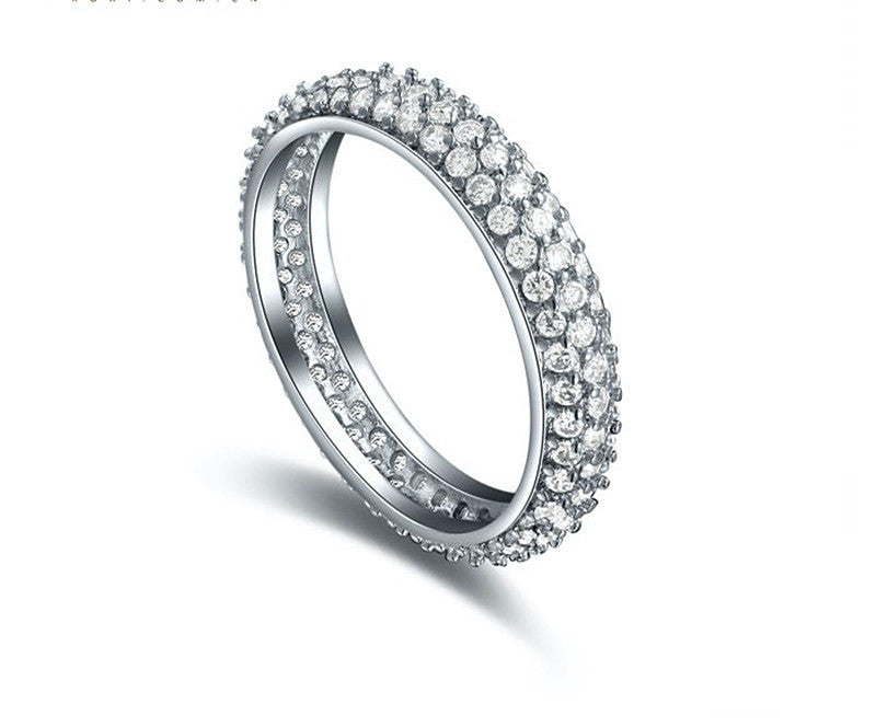 Platinum Plated Evangeline Ring with Simulated Diamond