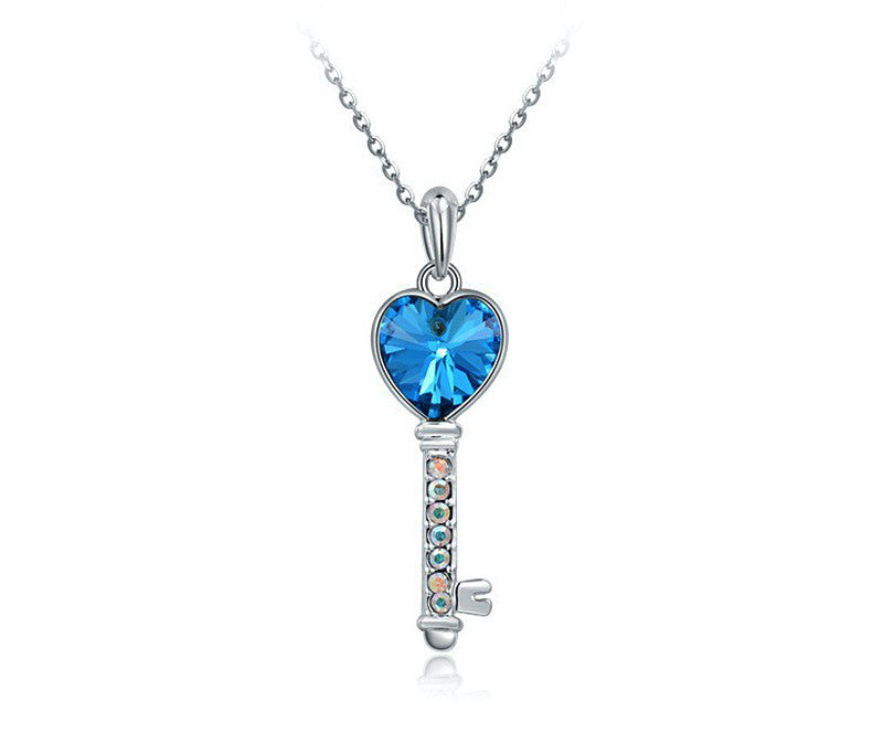 Platinum Plated Gabriela Necklace with Simulated Diamond