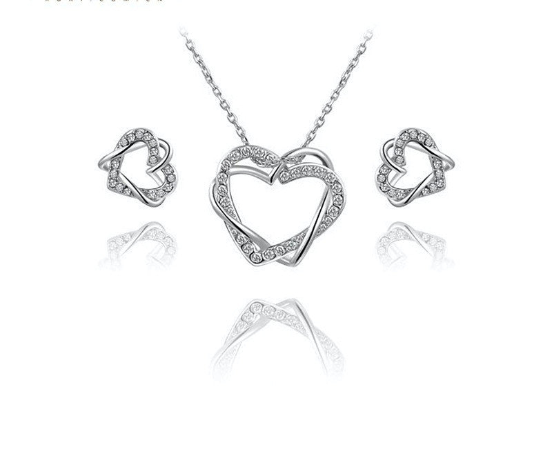 Platinum Plated Gabriella Necklace and Earrings Set with Simulated Diamond