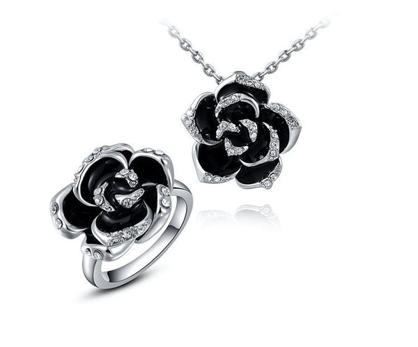 Platinum Plated Georgia Necklace and Ring Set with Simulated Diamond