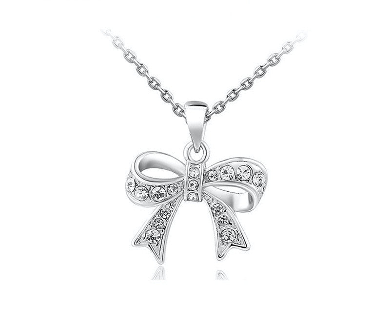 Platinum Plated Gianna Necklace with Simulated Diamond