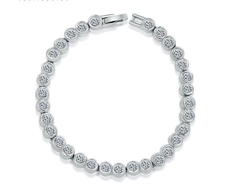 Platinum Plated Grace Bracelet with Simulated Diamond