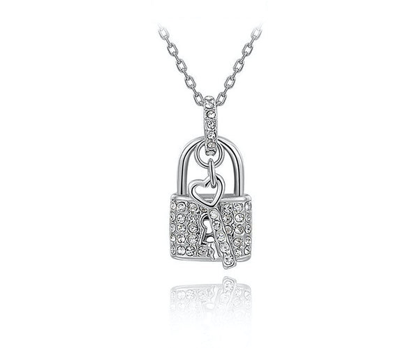 Platinum Plated Grace Necklace with Simulated Diamond