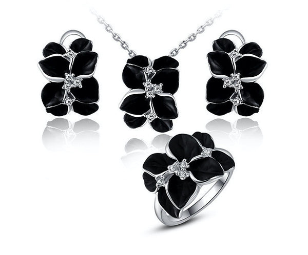 Platinum Plated Hadley Necklace, Earrings, Ring Set with Simulated Diamond