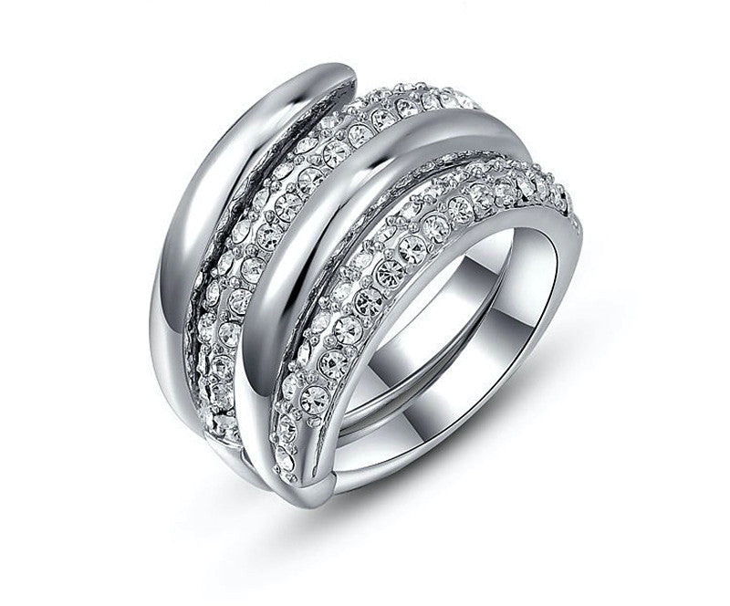 Platinum Plated Hailey Ring with Simulated Diamond