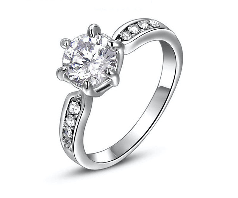 Platinum Plated Hannah Ring with Simulated Diamond