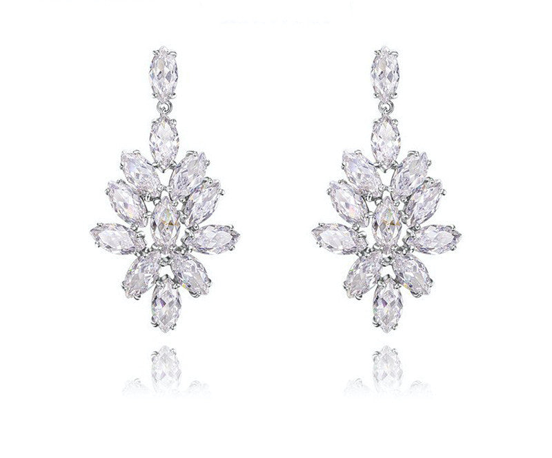Platinum Plated Helena Earrings with Simulated Diamond