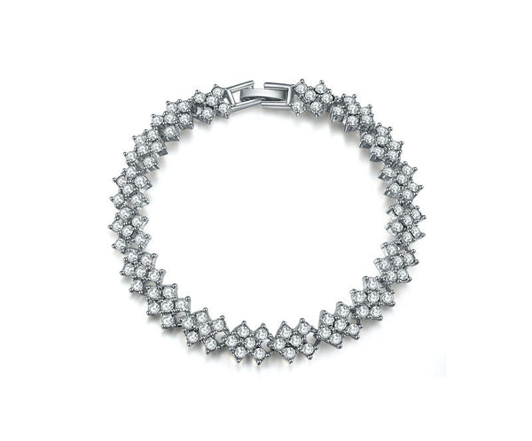 Platinum Plated Isabelle Bracelet with Simulated Diamond