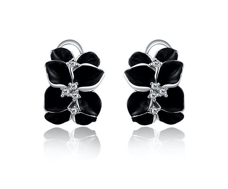 Platinum Plated Isla Earrings with Simulated Diamond