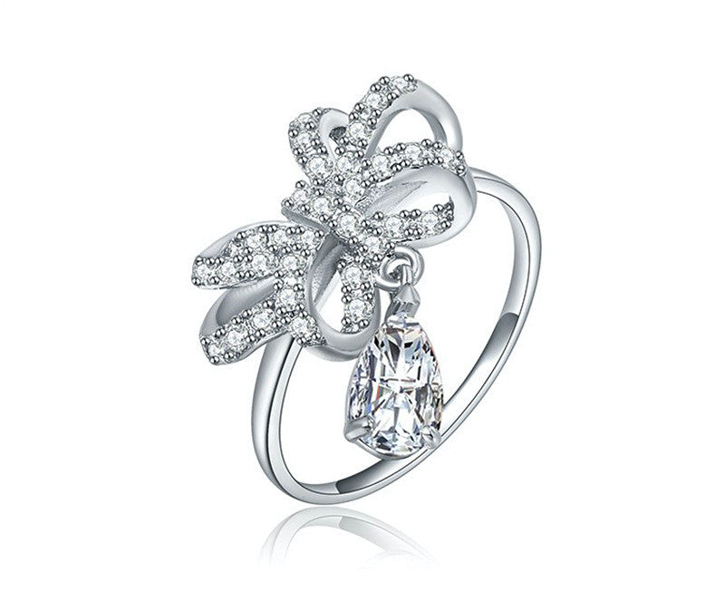 Platinum Plated Itzel Ring with Simulated Diamond