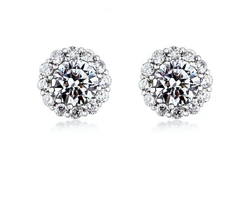Platinum Plated Ivy Earrings with Simulated Diamond