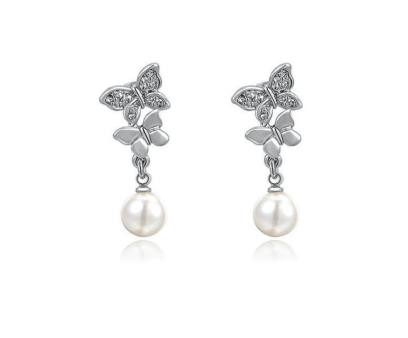 Platinum Plated Janiyah Earrings with Simulated Diamond