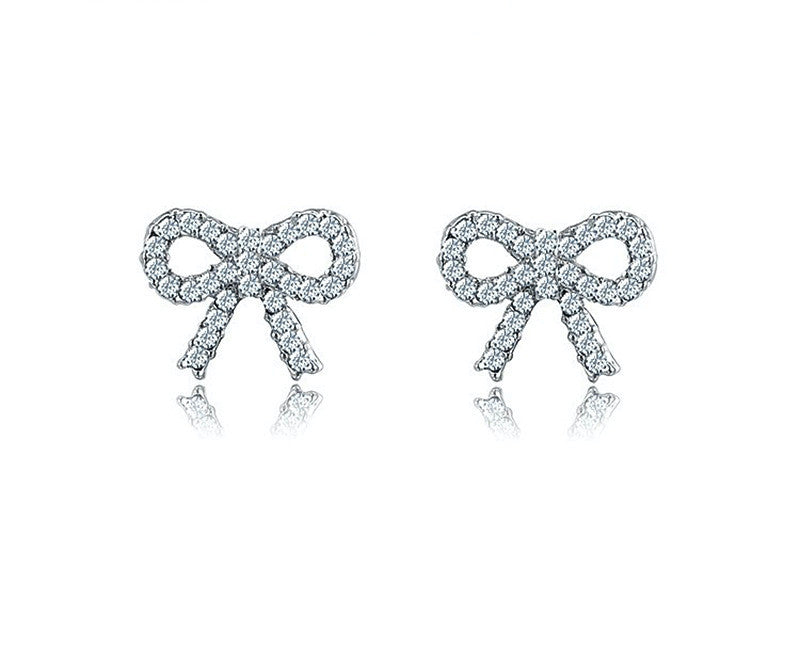 Platinum Plated Jazmine Earrings with Simulated Diamond
