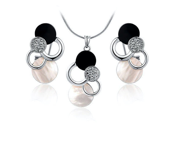 Platinum Plated Josephine Necklace and Earrings Set with Simulated Diamond