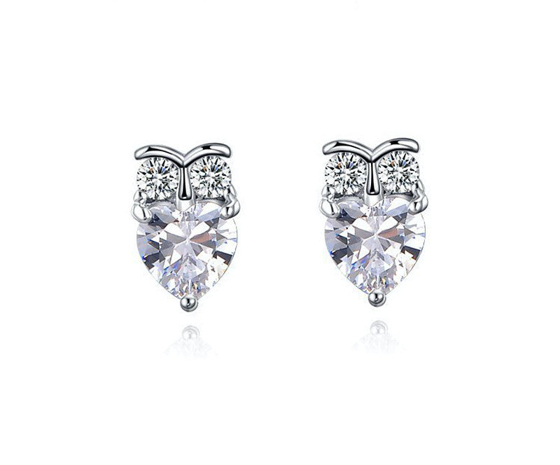 Platinum Plated Juniper Earrings with Simulated Diamond