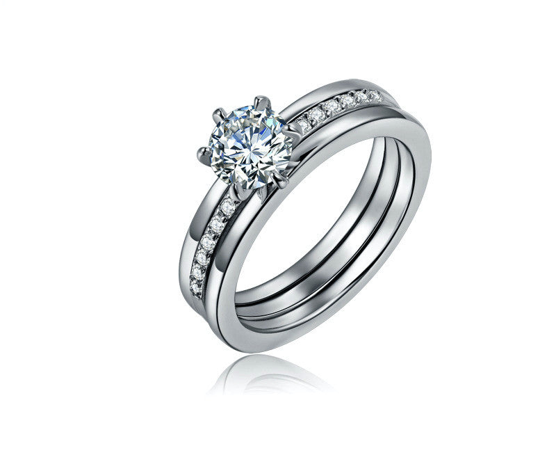 Platinum Plated Karen Ring with Simulated Diamond