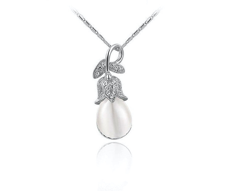 Platinum Plated Kaydence Necklace with Simulated Diamond
