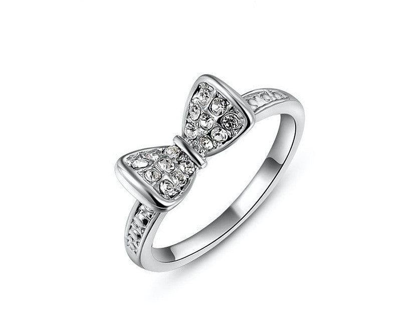 Platinum Plated Kendall Ring with Simulated Diamond