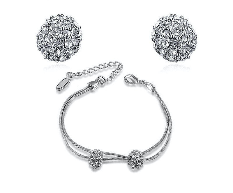 Platinum Plated Kyra Earrings and Bracelet Set with Simulated Diamond