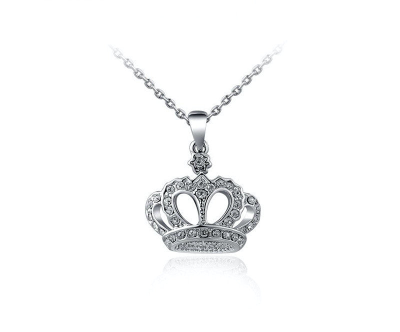 Platinum Plated Leah Necklace with Simulated Diamond