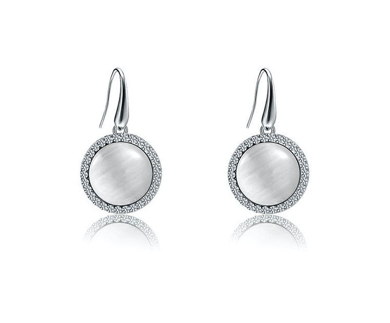 Platinum Plated Leia Earrings with Simulated Diamond