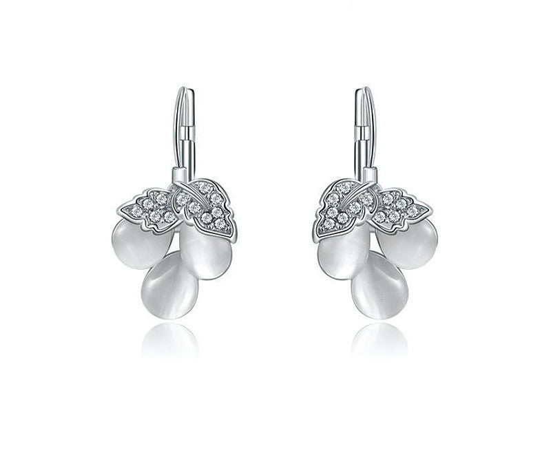Platinum Plated Lilah Earrings with Simulated Diamond
