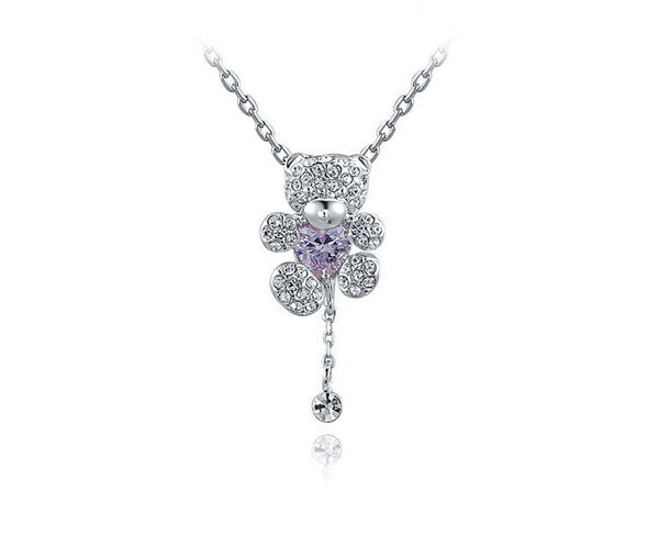 Platinum Plated Liliana Necklace with Simulated Diamond