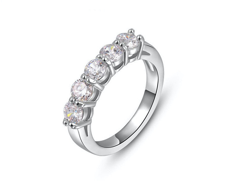 Platinum Plated Luciana Ring with Simulated Diamond