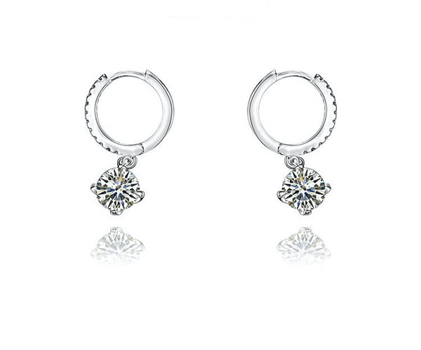Platinum Plated Luna Earrings with Simulated Diamond