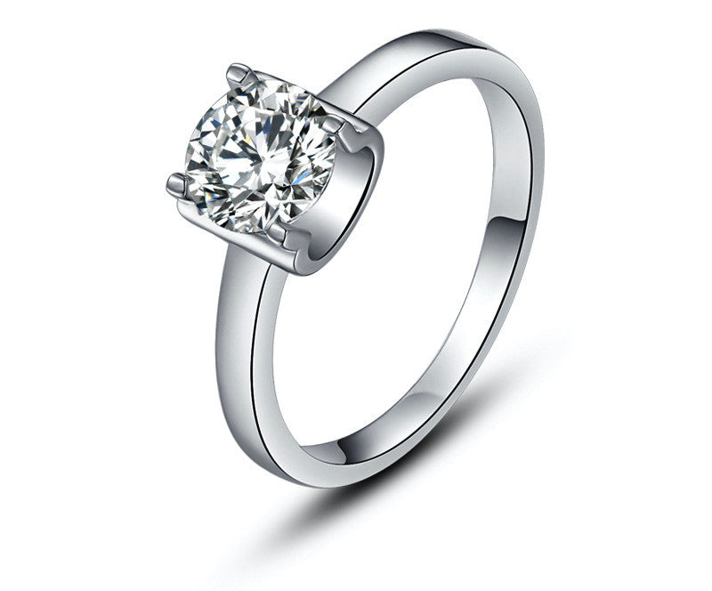 Platinum Plated Madeleine Ring with Simulated Diamond