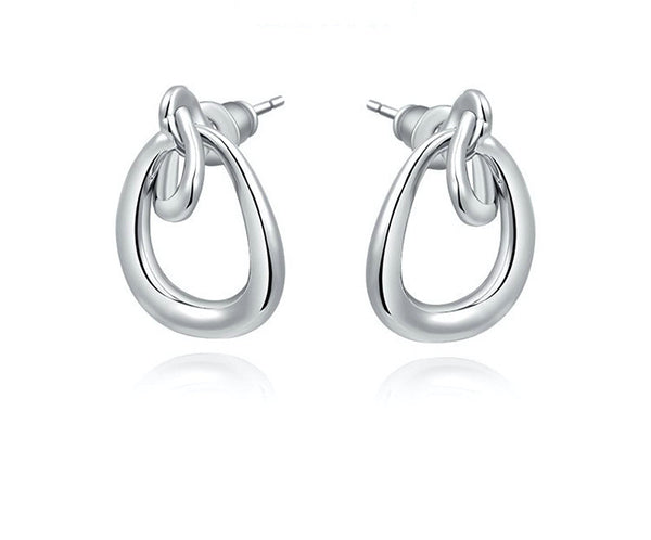 Platinum Plated Madelyn Earrings with Simulated Diamond