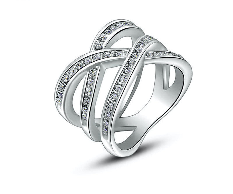 Platinum Plated Margaret Ring with Simulated Diamond