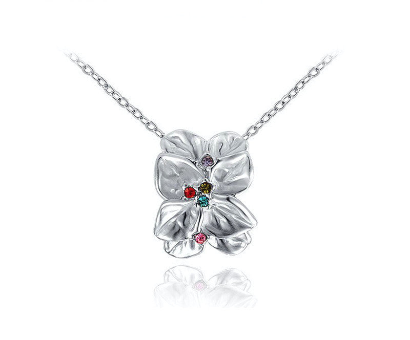 Platinum Plated Mariah Necklace with Simulated Diamond