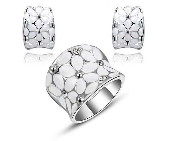 Platinum Plated Mariana Earrings and Ring Set with Simulated Diamond