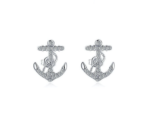 Platinum Plated Melody Earrings with Simulated Diamond