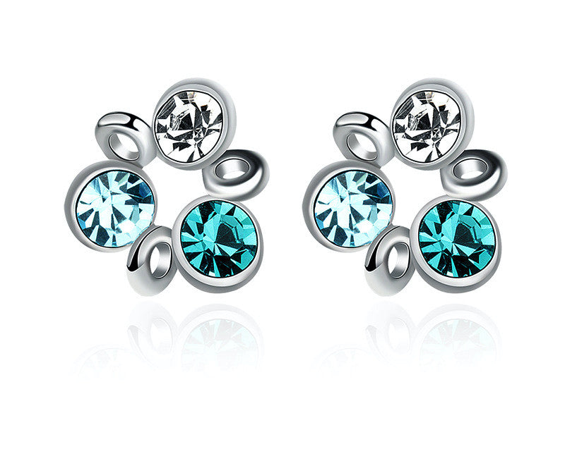 Platinum Plated Michaela Earrings with Simulated Diamond
