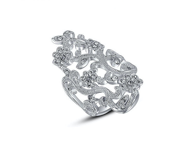 Platinum Plated Michelle Ring with Simulated Diamond