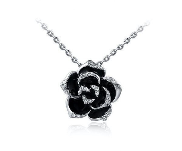 Platinum Plated Naomi Necklace with Simulated Diamond