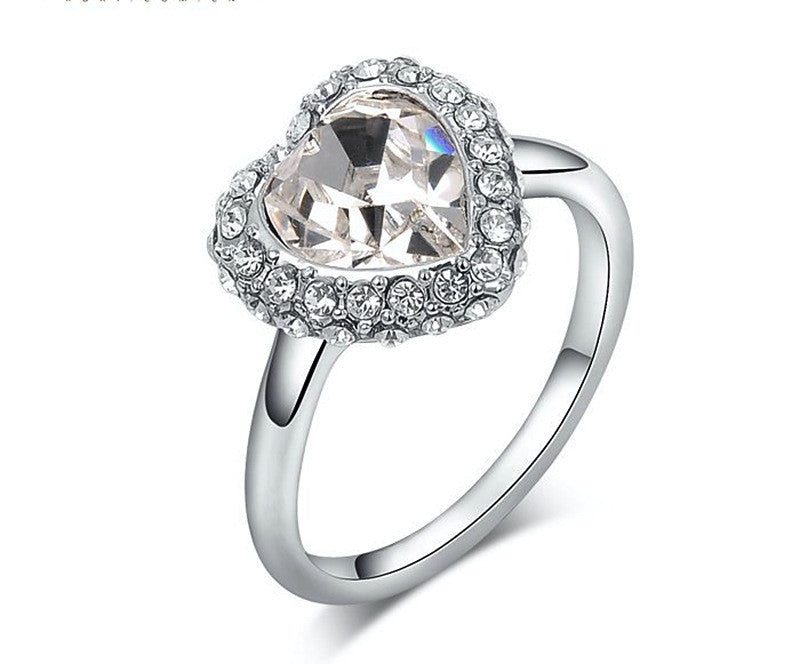 Platinum Plated Natalia Ring with Simulated Diamond