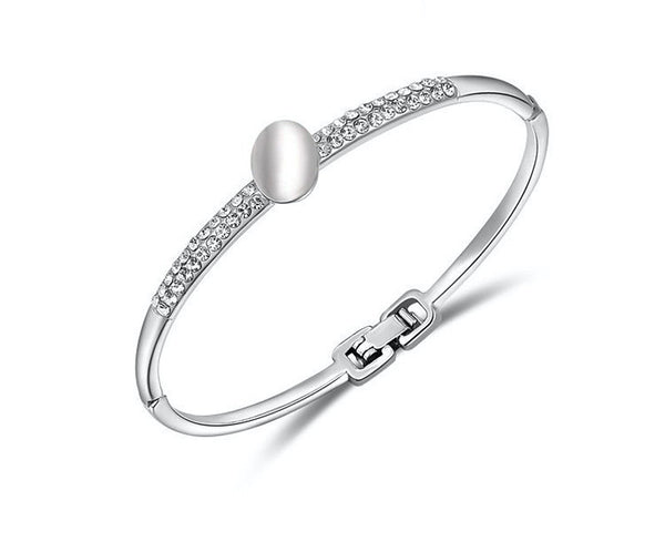 Platinum Plated Nevaeh Bracelet with Simulated Diamond