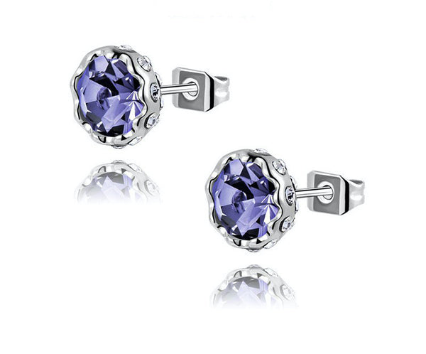 Platinum Plated Nevaeh Earrings with Simulated Diamond