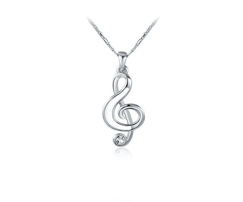 Platinum Plated Paisley Necklace with Simulated Diamond